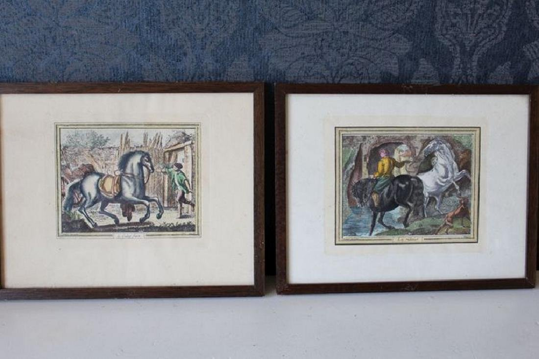 2 antique engravings with horses