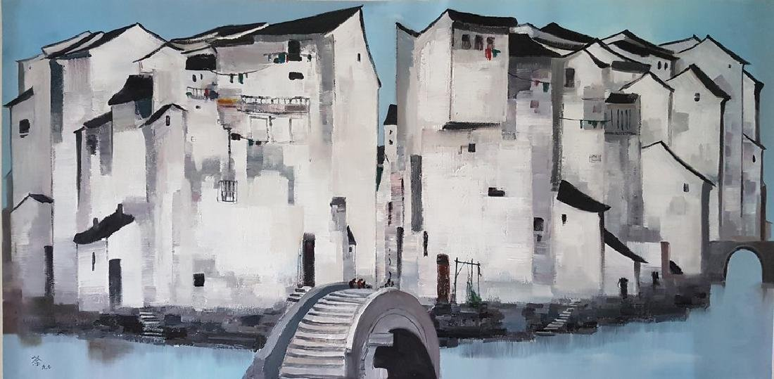 A Chinese Oil Painting on Canvas, WU GUANZHONG