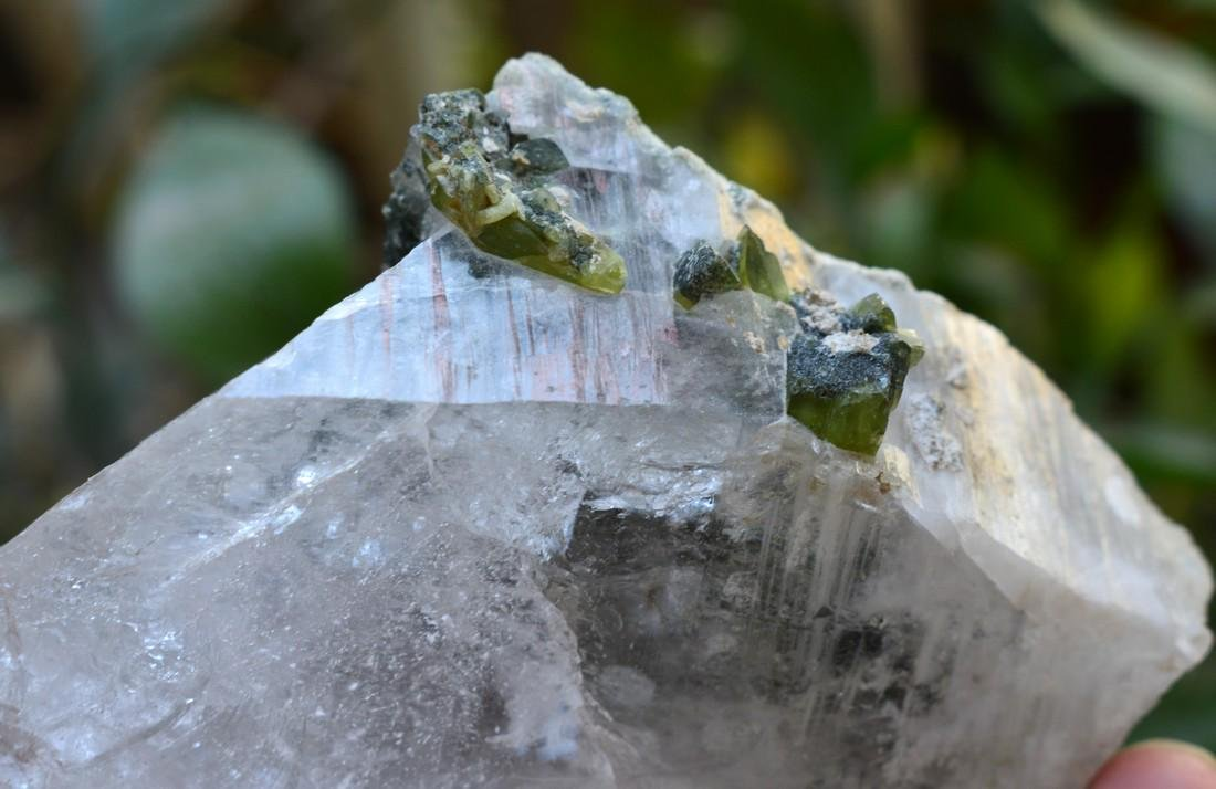 Natural Green Sphene Specimen with Quartz