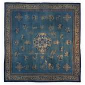 Antique Peking Chinese Art Deco Rug Blue 14.4x14.7