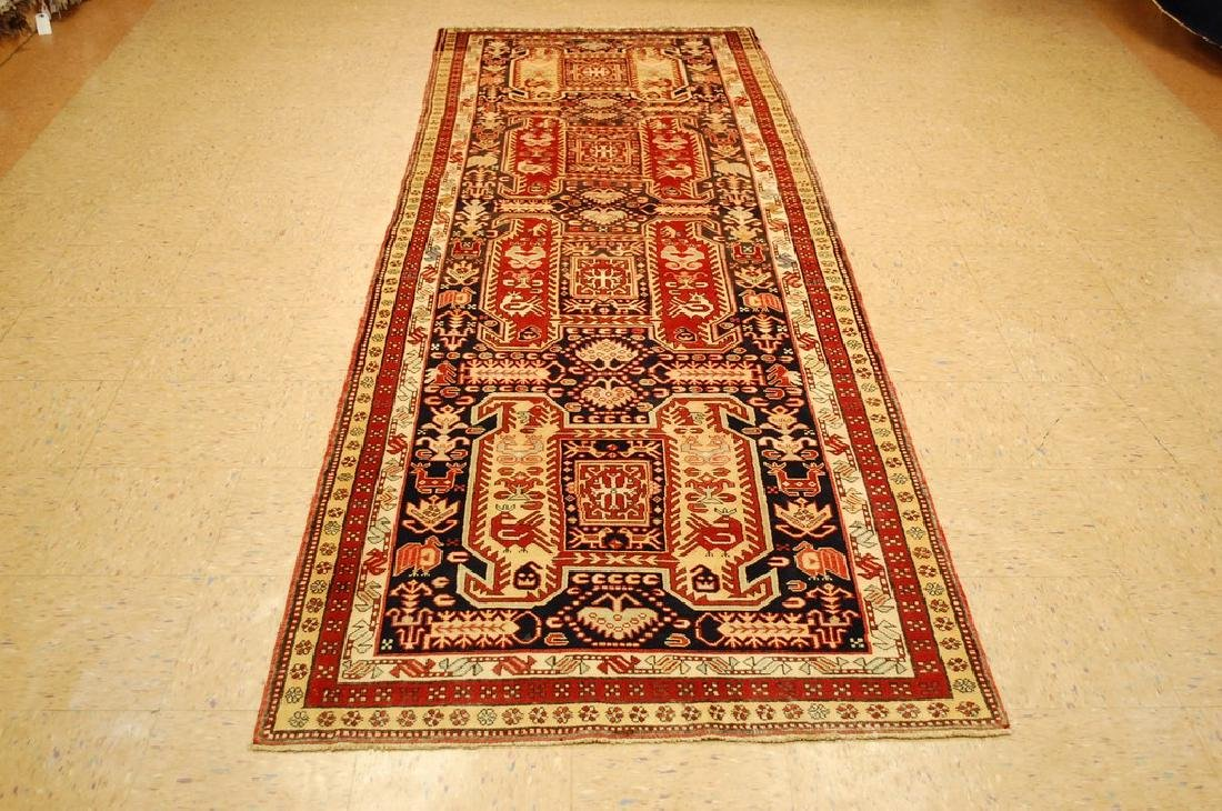 Caucasian Lankoran Kazak Design Caucasian Rug 3.7x10.7