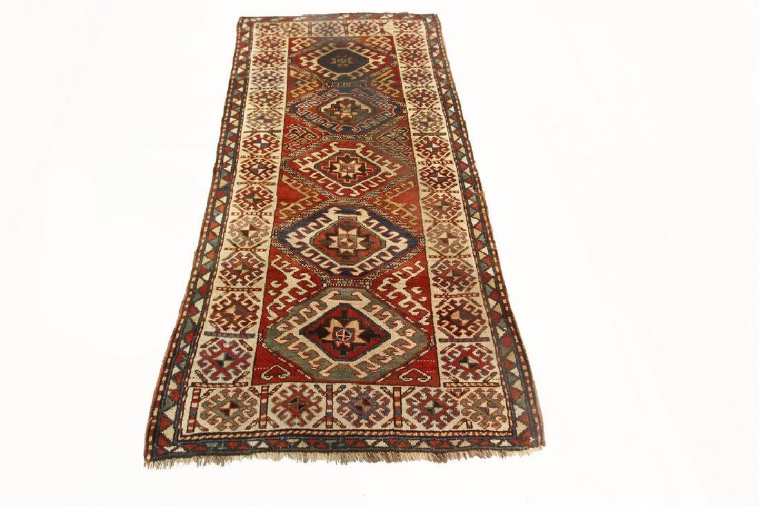 Antique Kazak Rug Caucasian Kurdish 3.10x7.6