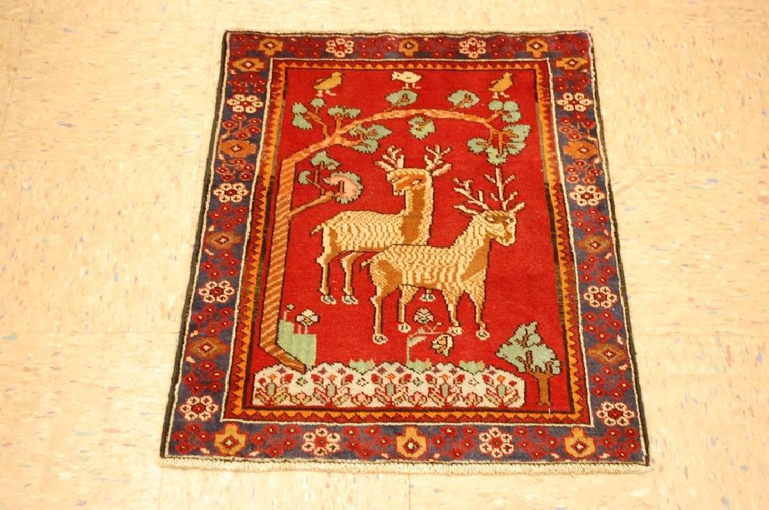 Detailed Animal Design Fine Persian Malayer Rug 2x2.7
