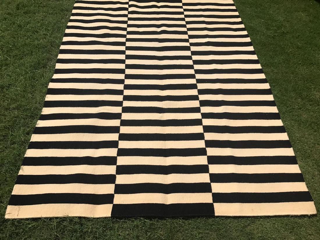Black and White Stripped Kilim Rug 7.7x5.6