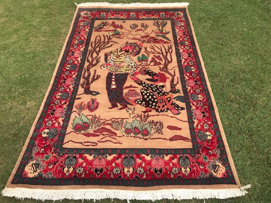 Persian Tabriz Pictorial Omar Khayyam Hand Made Rug 7x4