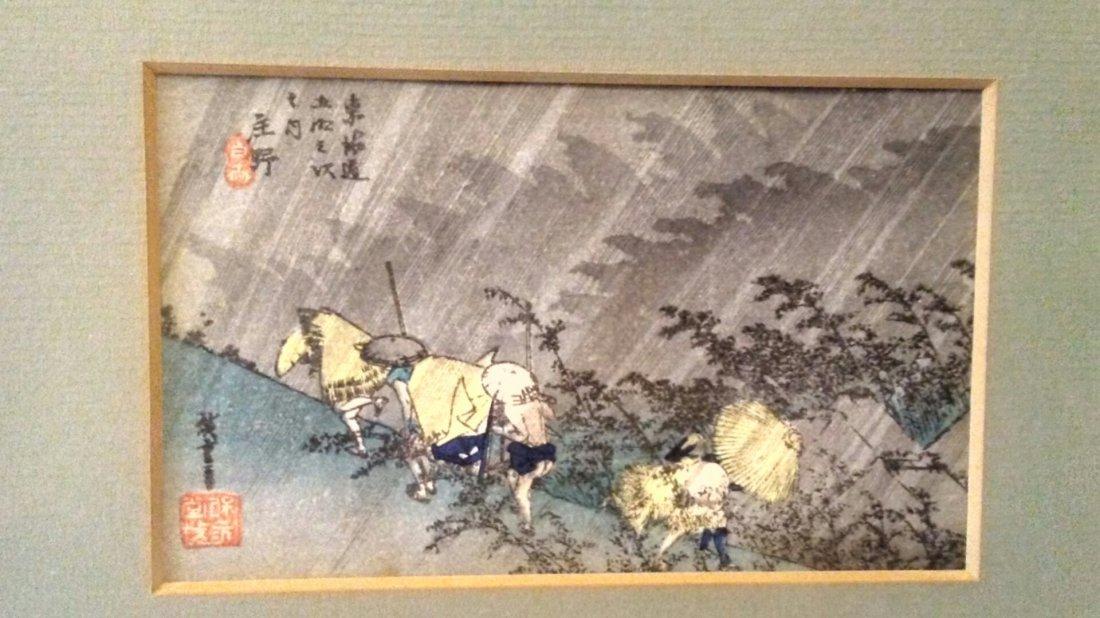 Ando Hiroshige Woodblock Caught in the rain