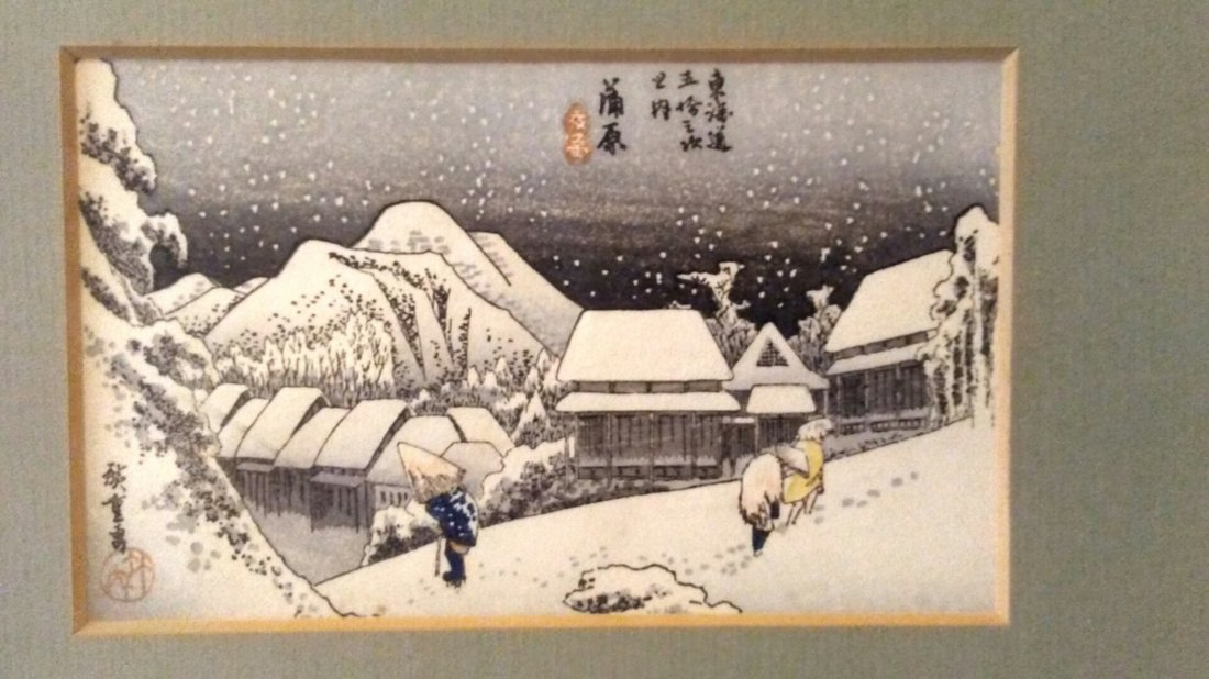 Ando Hiroshige Woodblock Kanbara Night Snow