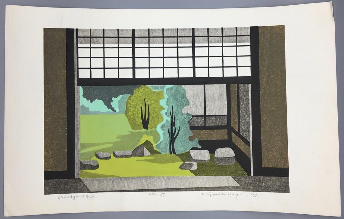 Kiyoshi Nagai Woodblock Courtyard