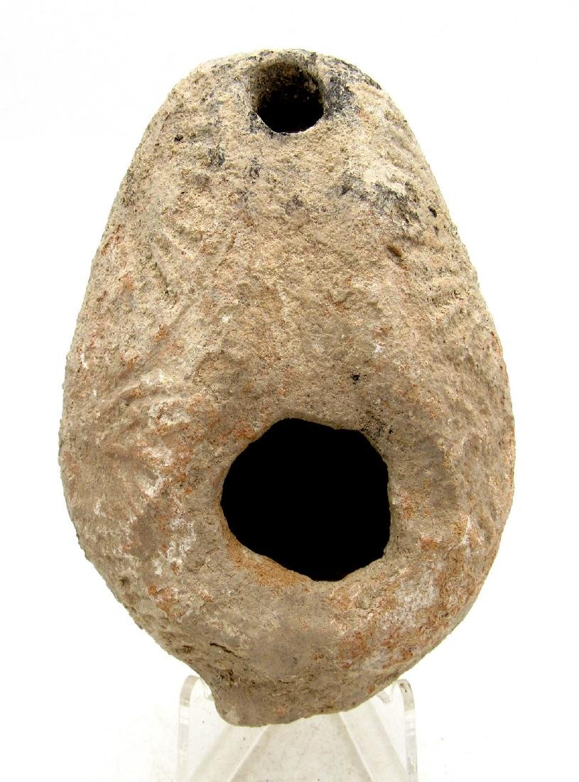 Ancient Byzantine Terracotta Decorated Oil Lamp