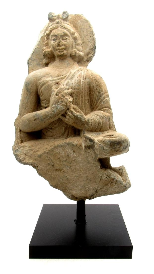Ancient Gandhara Schist Stone Statue of Buddha on Stand