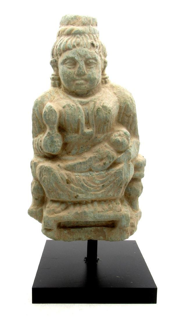 Ancient Gandhara Schist Stone Statue of Buddha on Stand