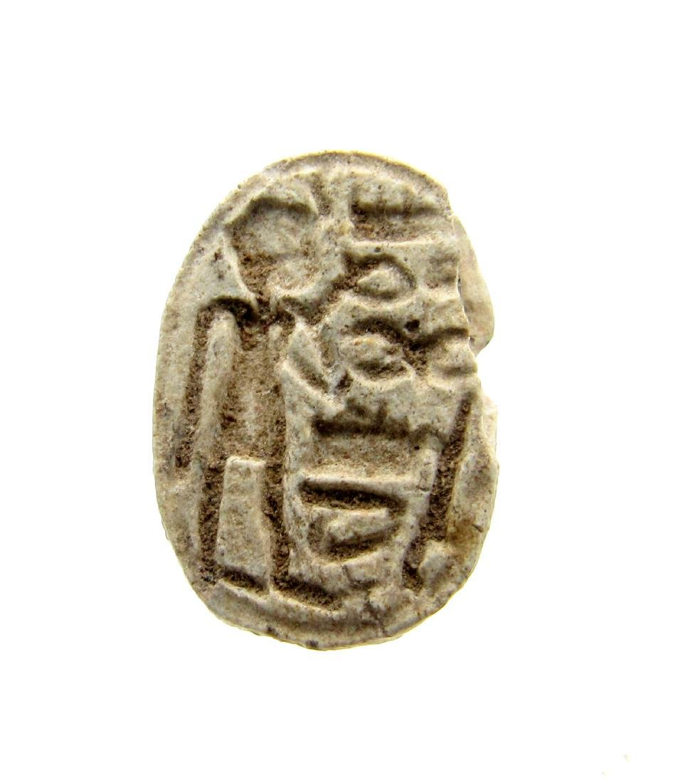 Ancient Egyptian Engraved Steatite Scarab Bead