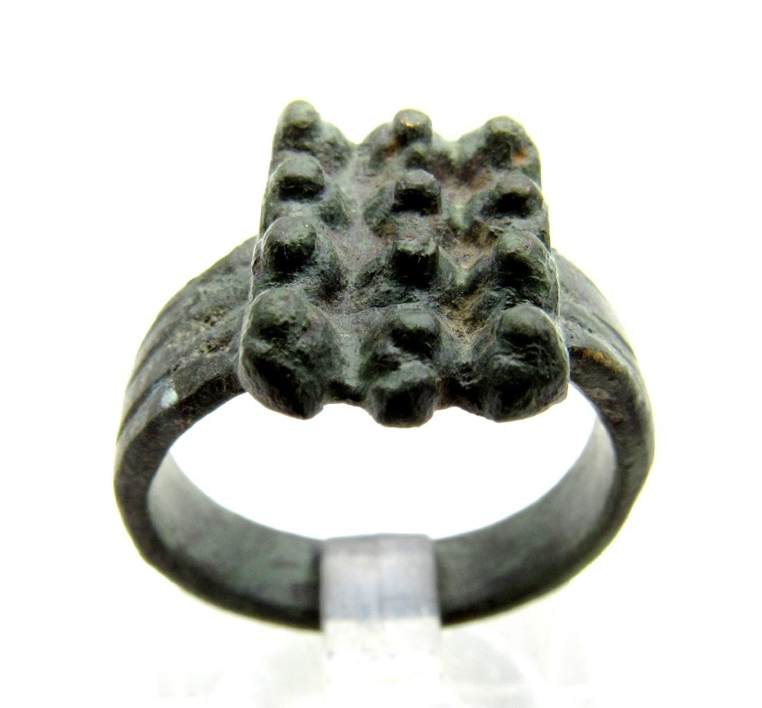 Medieval Viking Era Bronze Ring with Rows of Spikes