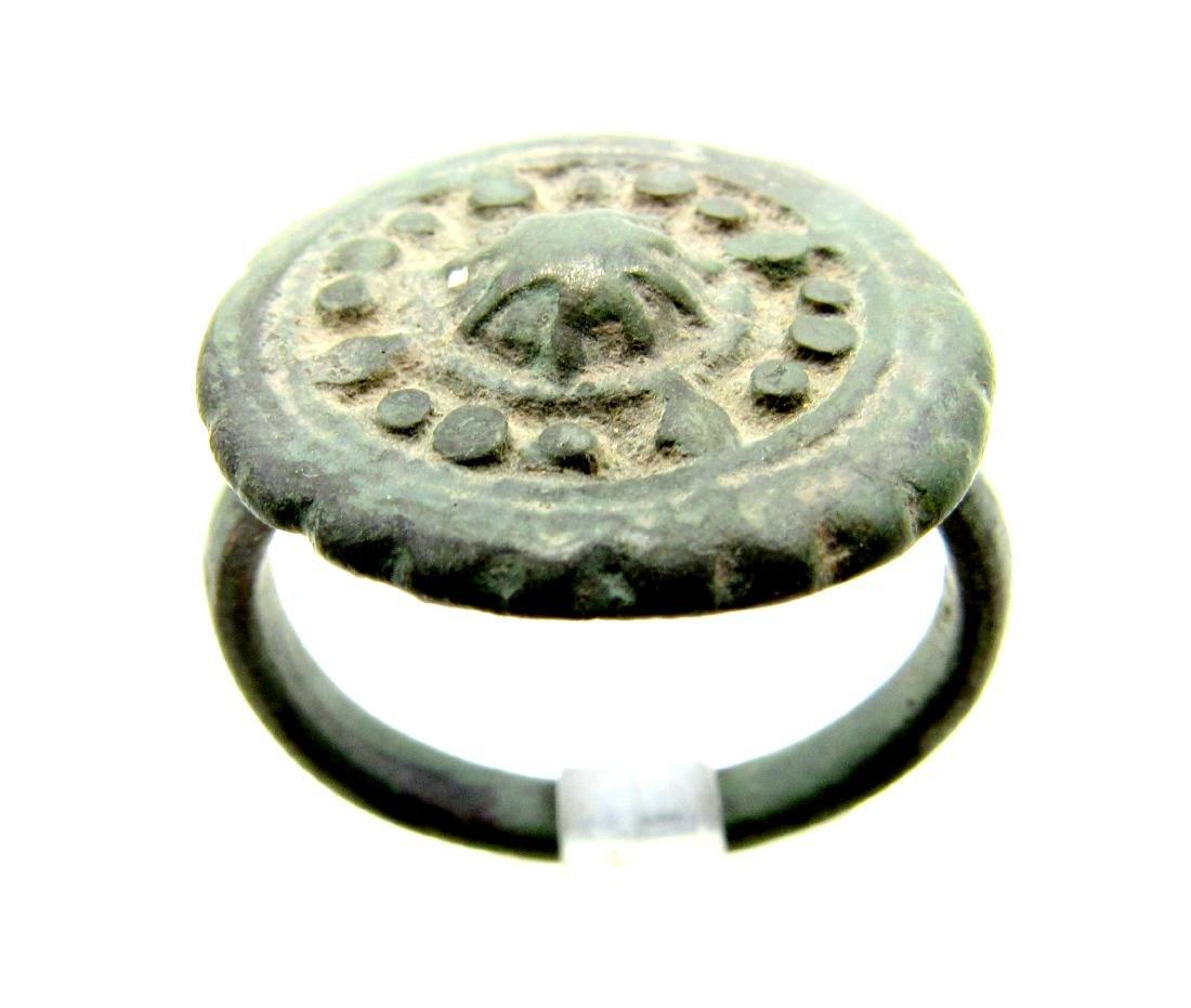 Ancient Roman Bronze Discoid Plate Shield Ring