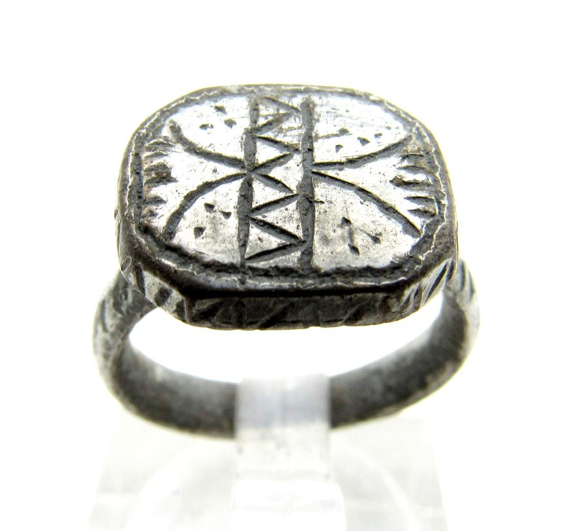 Medieval Viking Era Silvered Bronze Decorated Ring