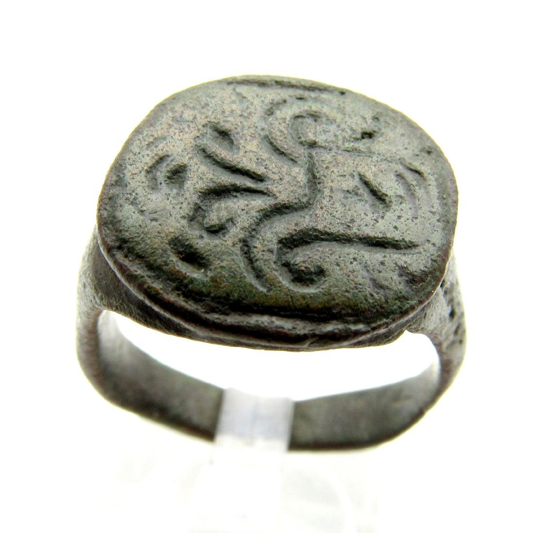 Medieval Crusaders Era Bronze Heraldic Ring Fountain