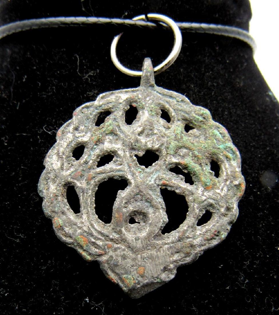 Medieval Viking Era Silvered Bronze Snake Pendant