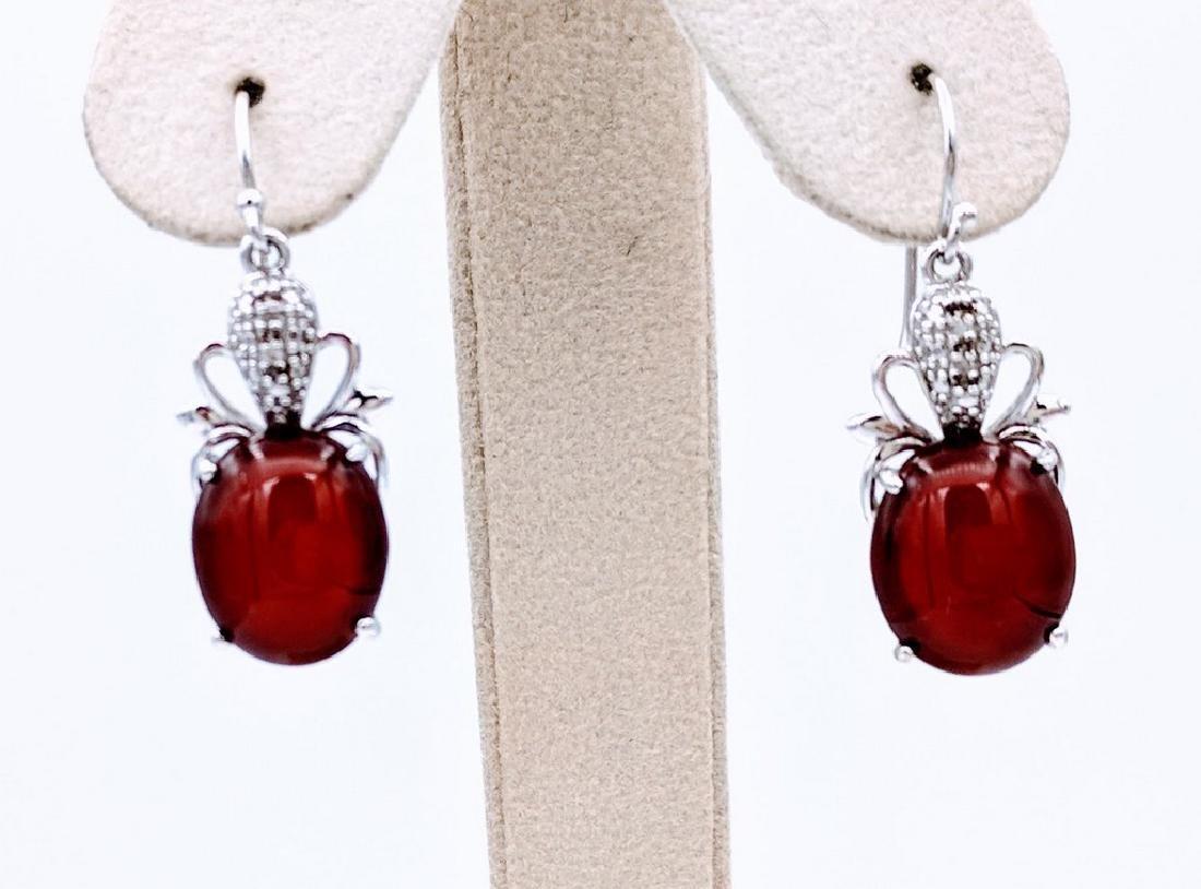 Sterling Silver Carnelian and Diamond Earrings