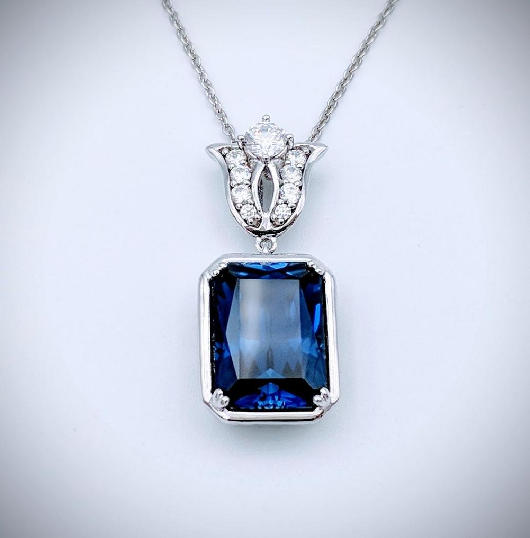 Sterling Silver Blue Sapphire Pendant Necklace, 8.48ct