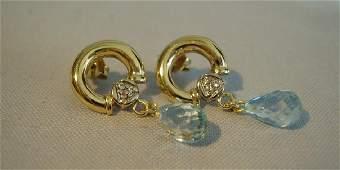 14K Yellow Gold Blue Topaz Diamond Earrings 406ctw