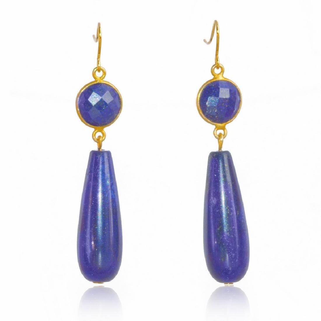 14K Gold Afghan Lapis Lazuli Art Deco Style Earrings