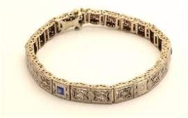 Antique Art Deco Platinum 14K Diamond Sapphire Bracelet