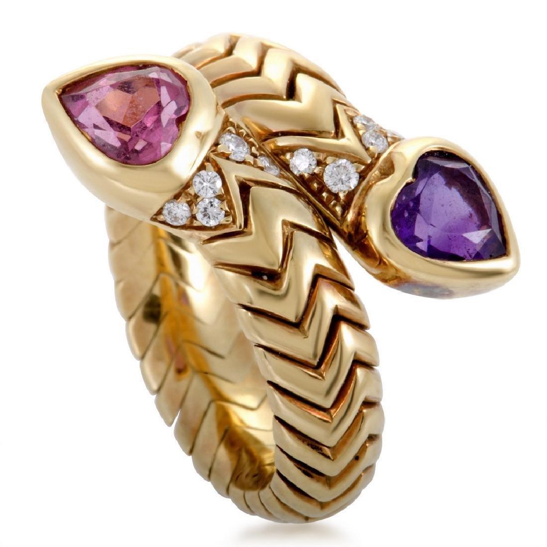 Bvlgari 18K Gold Amethyst Pink Tourmaline Bypass Ring