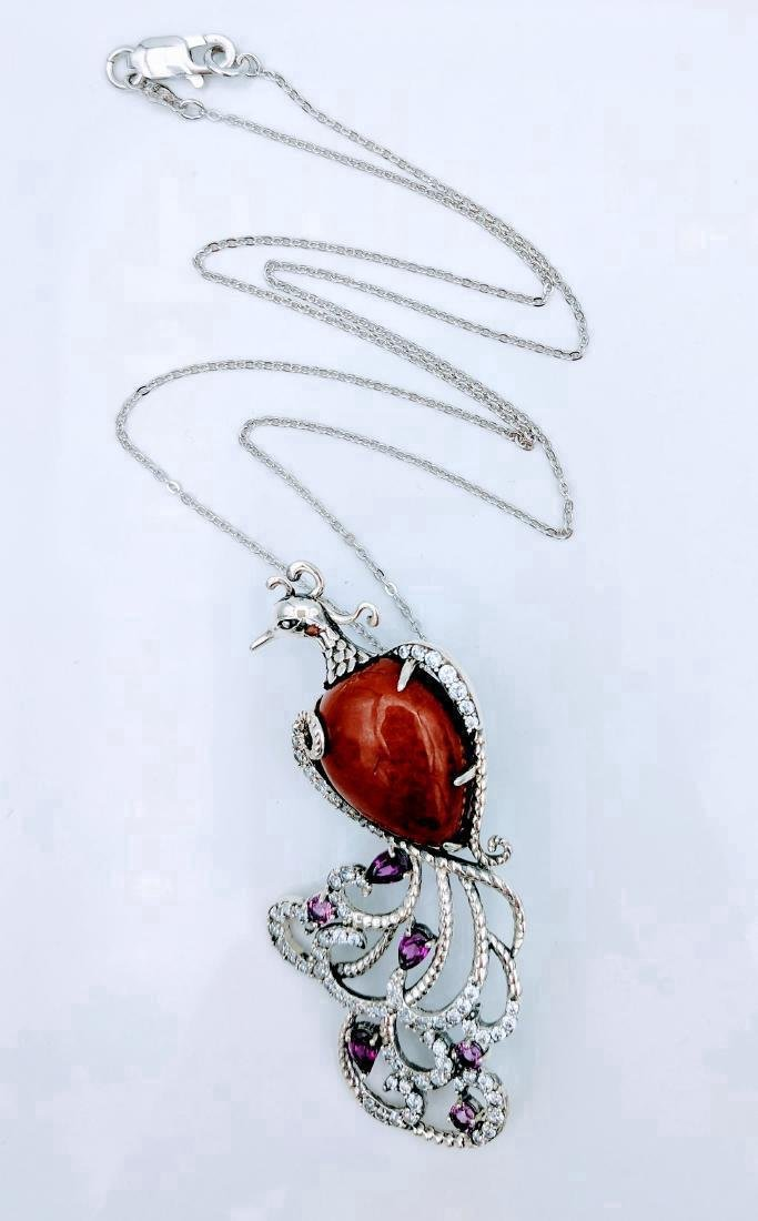 Sterling Silver Jasper CZ Figural Peacock Necklace