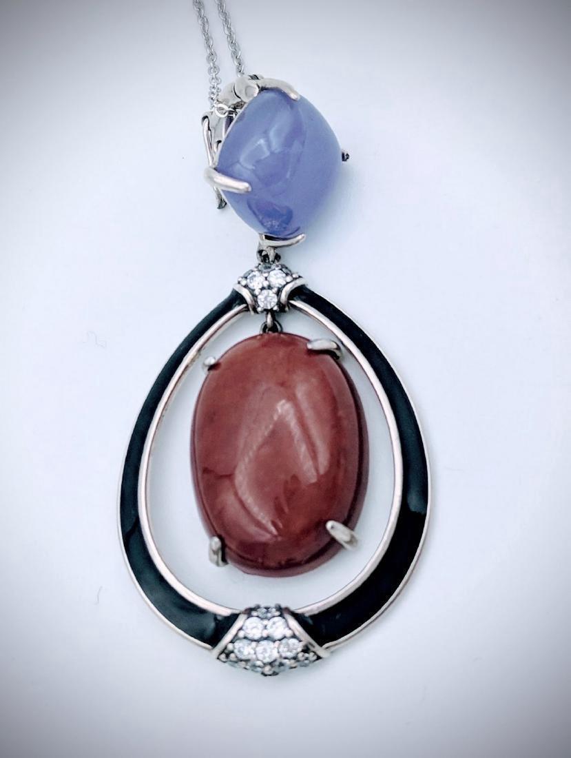 Sterling Silver Violet Jade Jasper Enamel Necklace