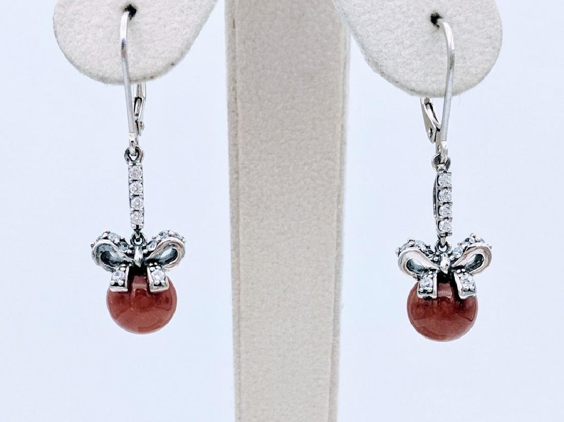 Sterling Silver Jasper Cubic Zirconia Bow Earrings