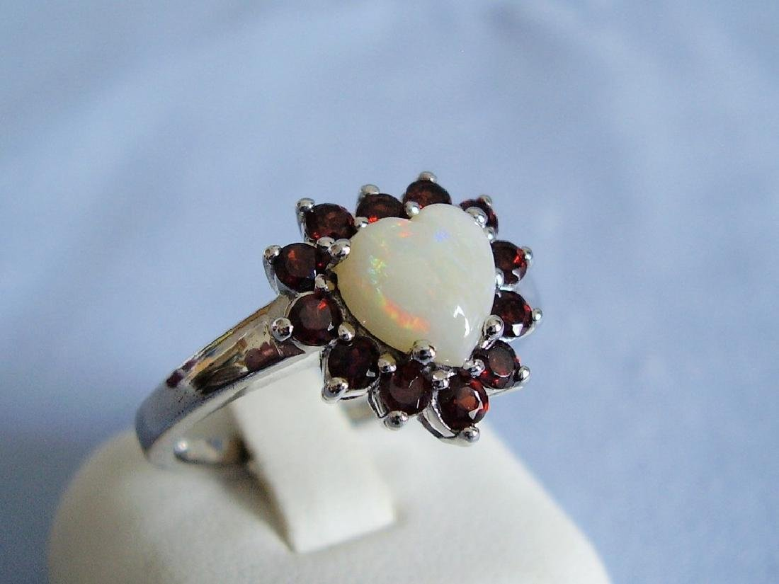 Sterling Silver Ring with opal and garnet