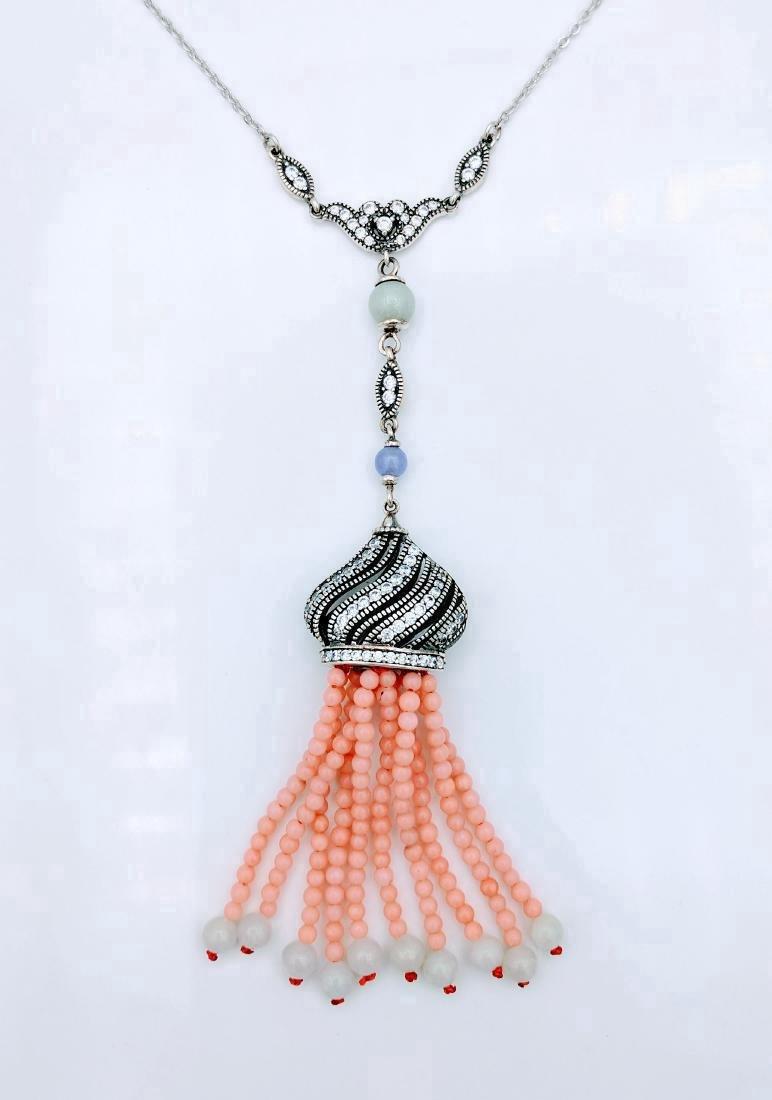 Sterling Silver Pink Jadeite Violet Jade Necklace