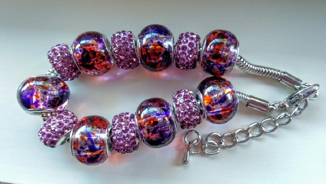 Purple Murano Glass Beaded Bracelet With Swarovski