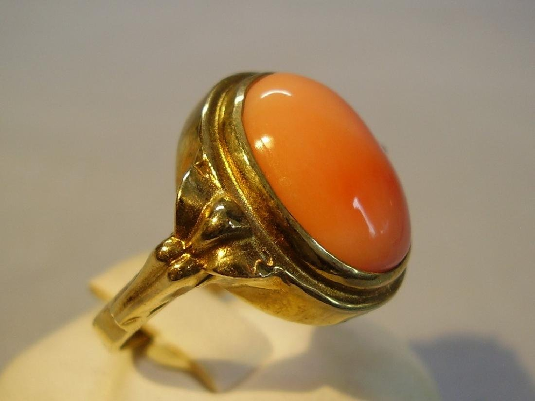 Gold Plated Ring with angelskin coral