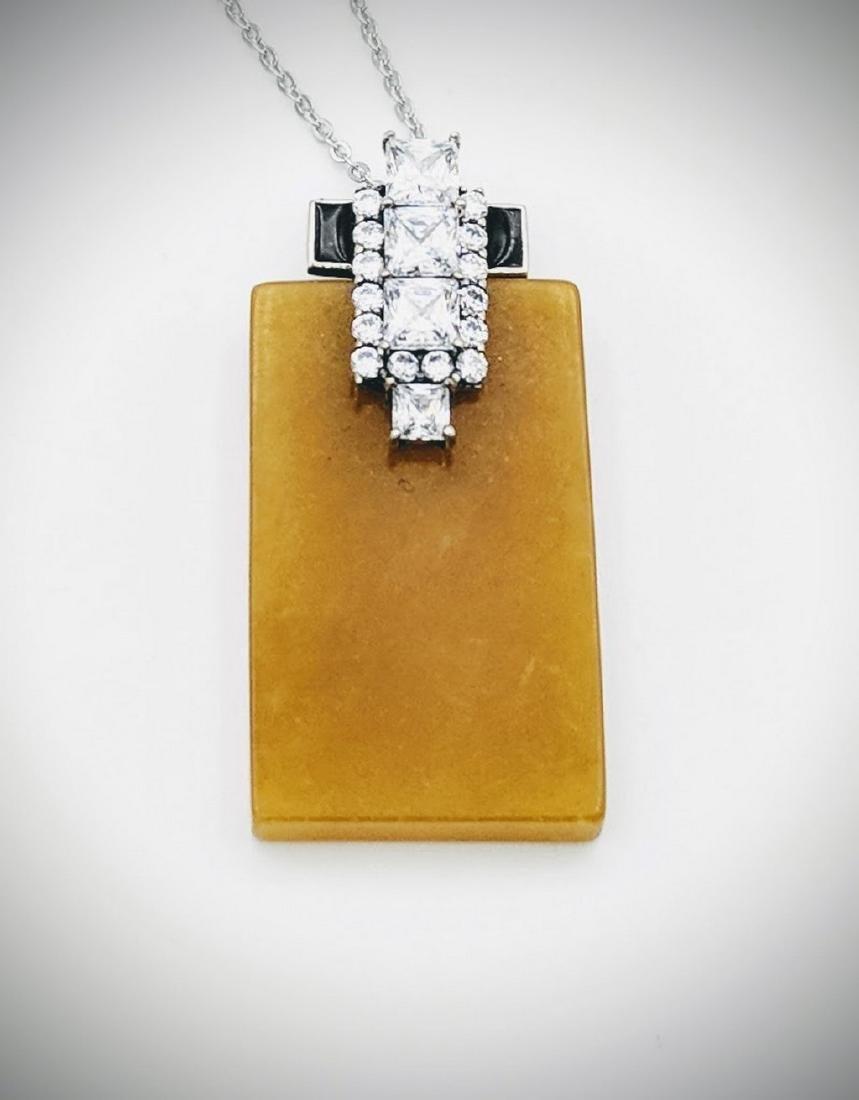 Sterling Silver Yellow Jade Black Enamel Necklace