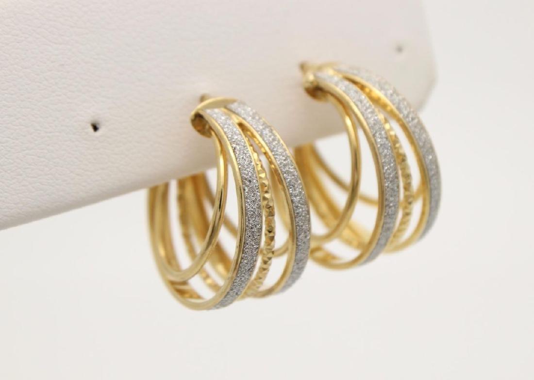 14K Yellow/White Gold Glimmer Hoop Earrings