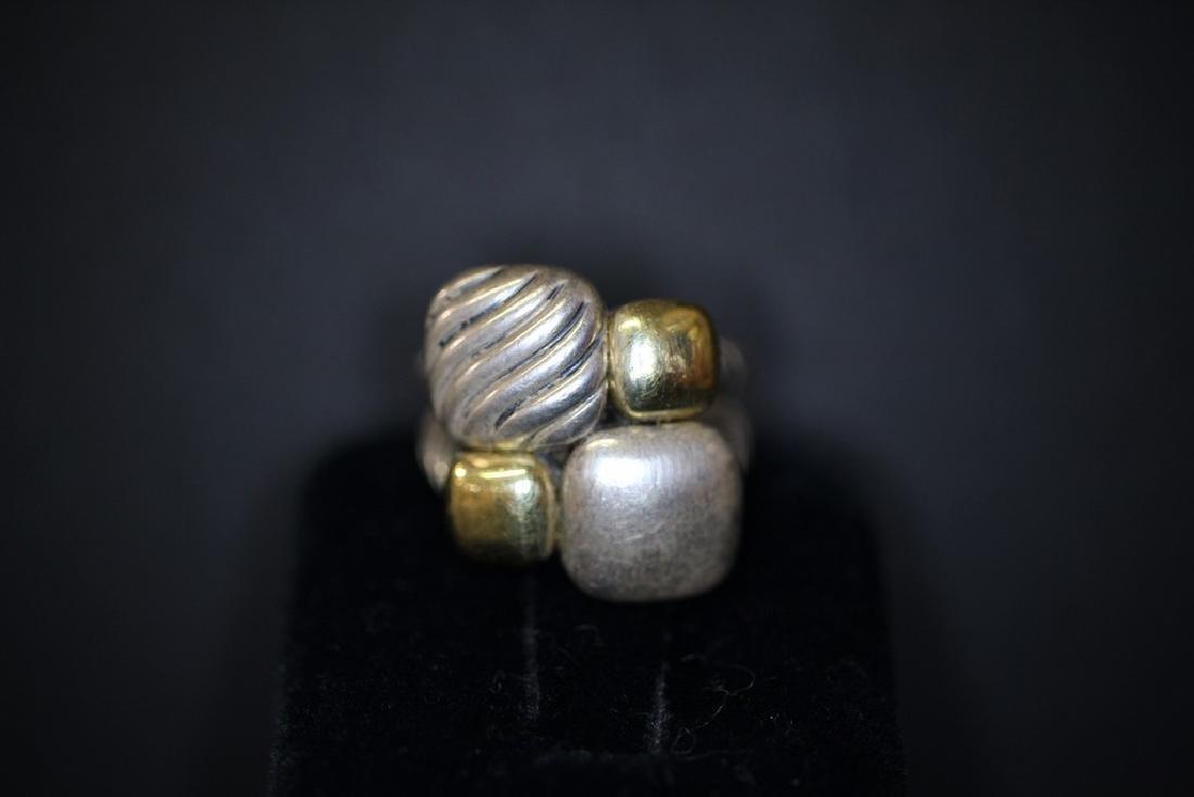 "David Yurman Sterling & 18K Gold ""Chiclet"" Ring"