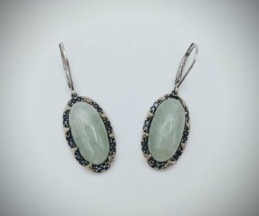 Sterling Silver Jade and Black Onyx Earrings