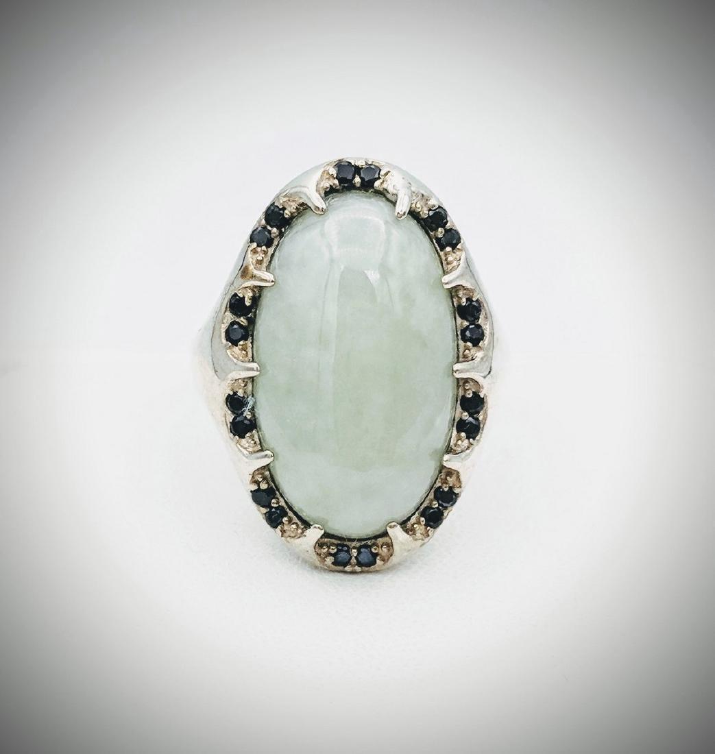 Sterling Silver Jade Black Onyx Ring