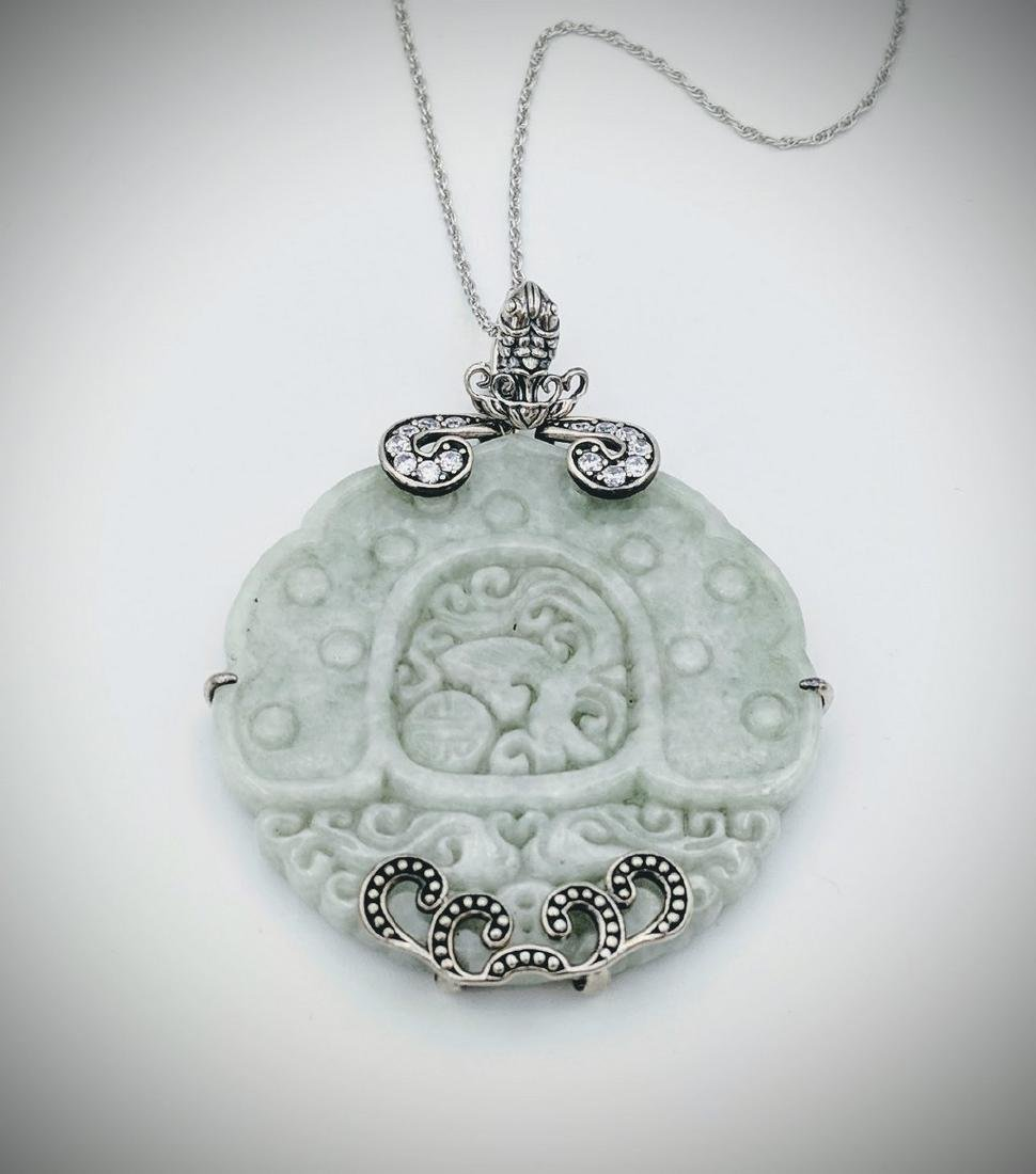 Sterling Silver Engraved Jade CZ Necklace