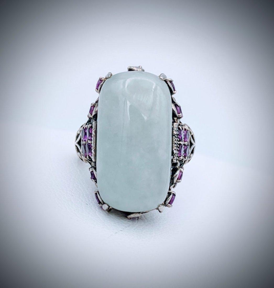 Sterling Silver Vintage Style Jade Pink Amethyst Ring