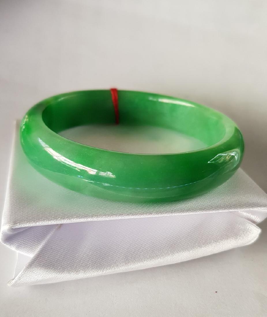 60mm Green Burmese Jade bangle bracelet
