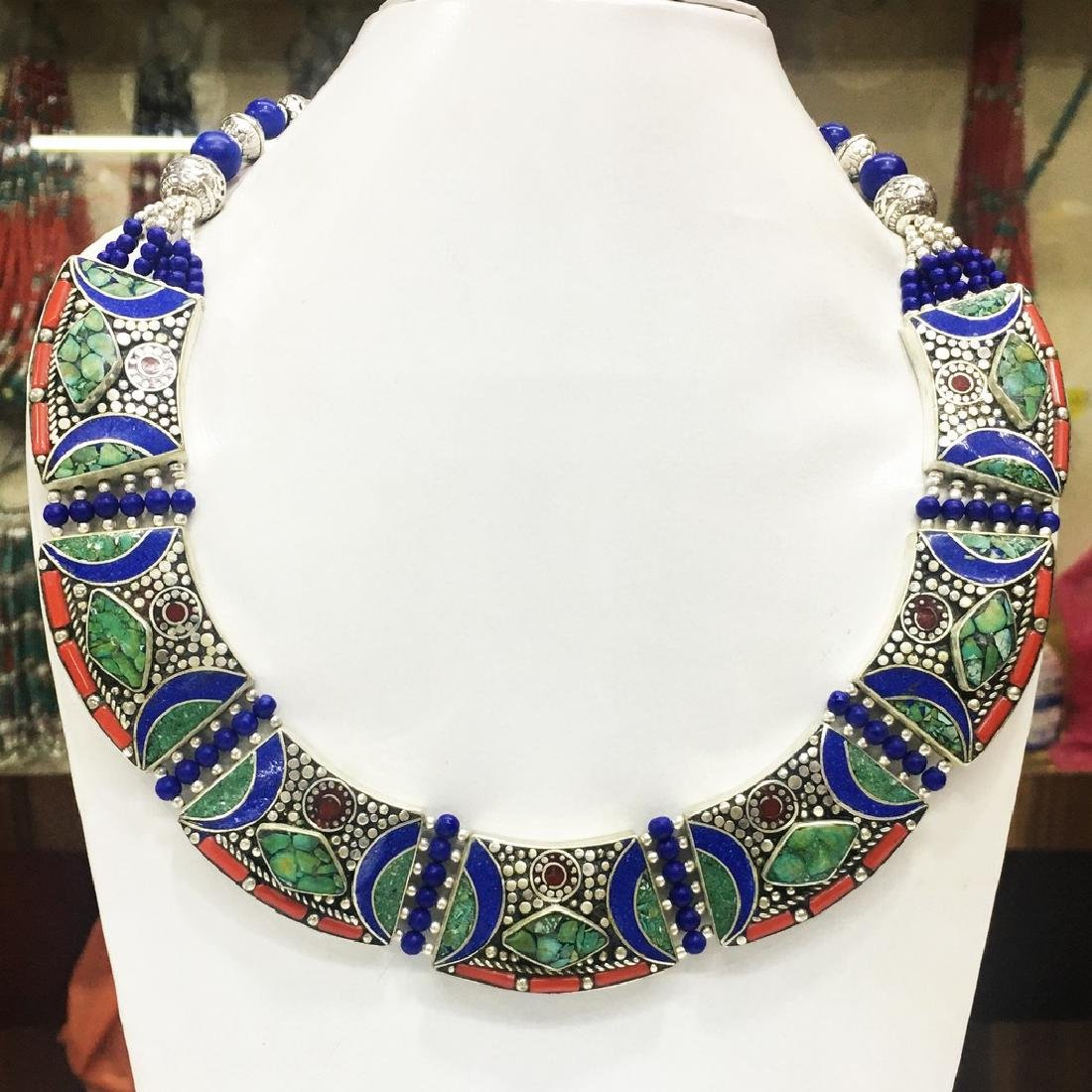 Tibetan Silver Turquoise Bohemian Bib Necklace