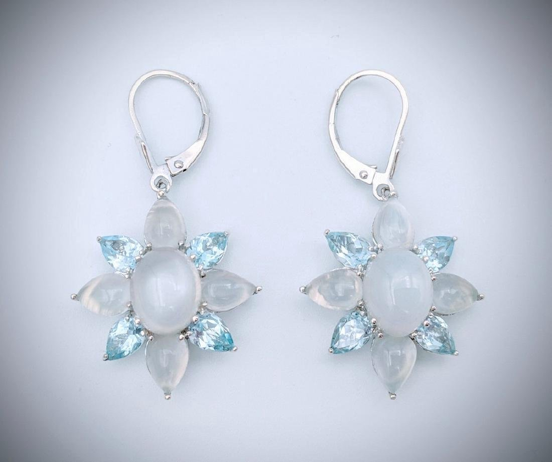 Sterling Silver Cats Eye Moonstone Blue Topaz Earrings