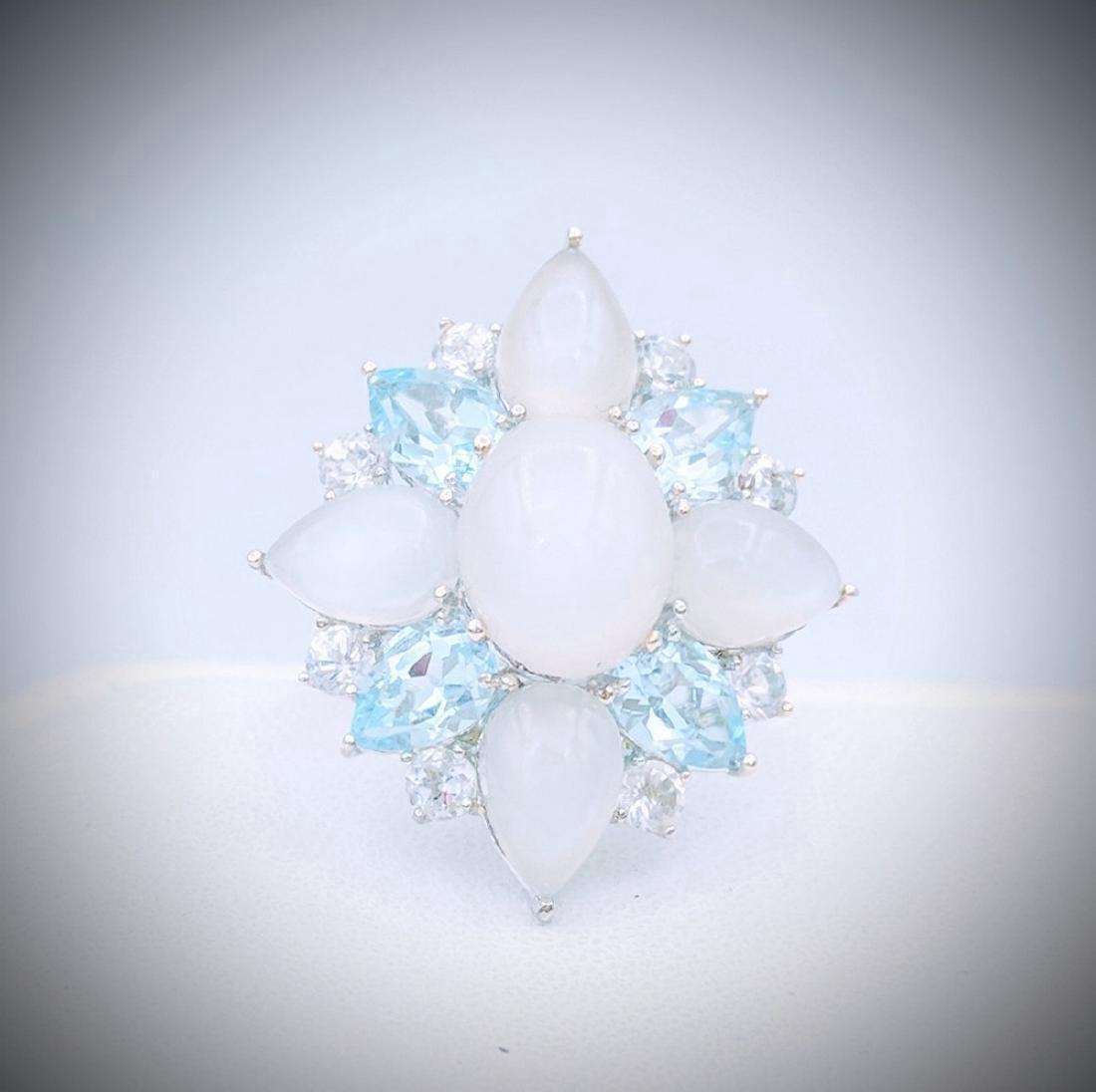 Sterling Silver White Cats Eye Moonstone Topaz Ring