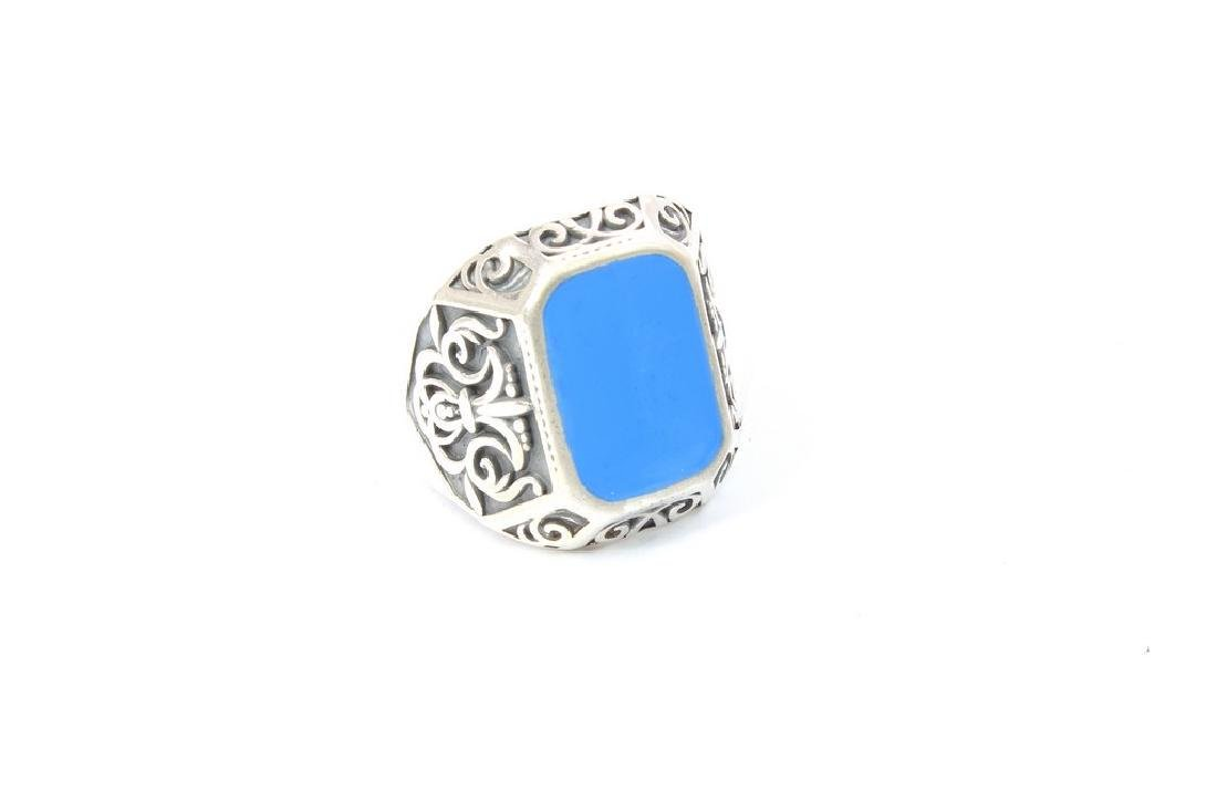 Made in Italy Nassau Collection Silver Ring with Enamel