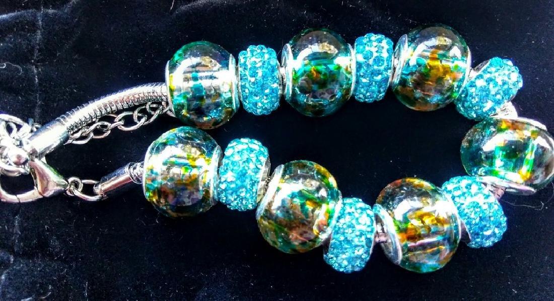 Blue Murano Glass Beaded Bracelet With Swarovski