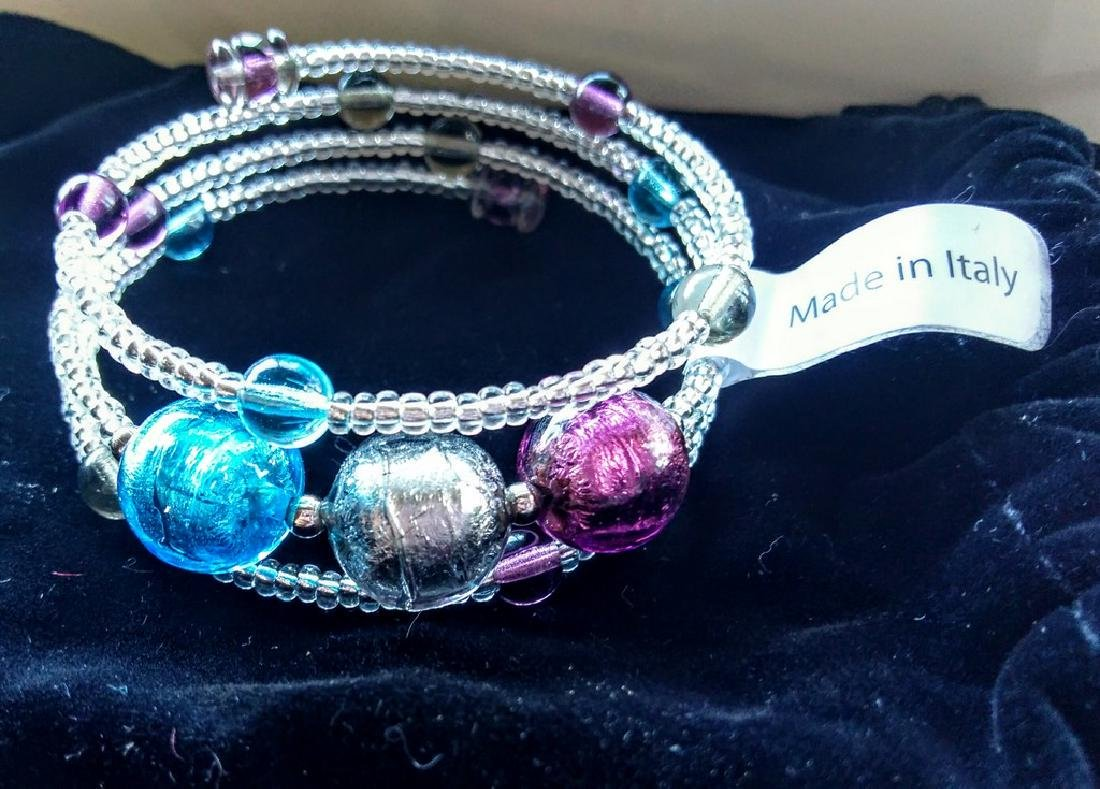 Murano Beaded Twist Bracelet Italian Hand Made