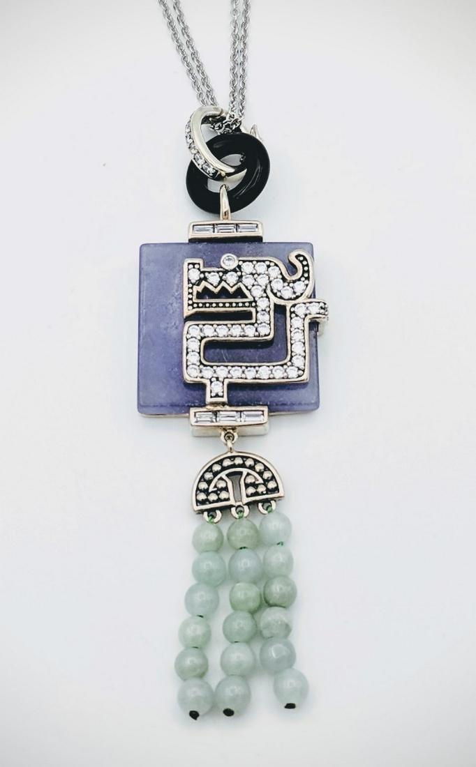 Sterling Silver Violet Jade, Jade Beads Necklace