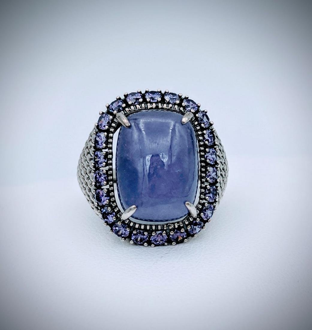 Sterling Silver Violet Jade and Amethyst Ring